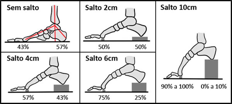 distribuição plantar representada em porcentagens de acordo com altura do salto.