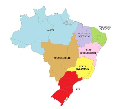 Brasil separado por regiões.