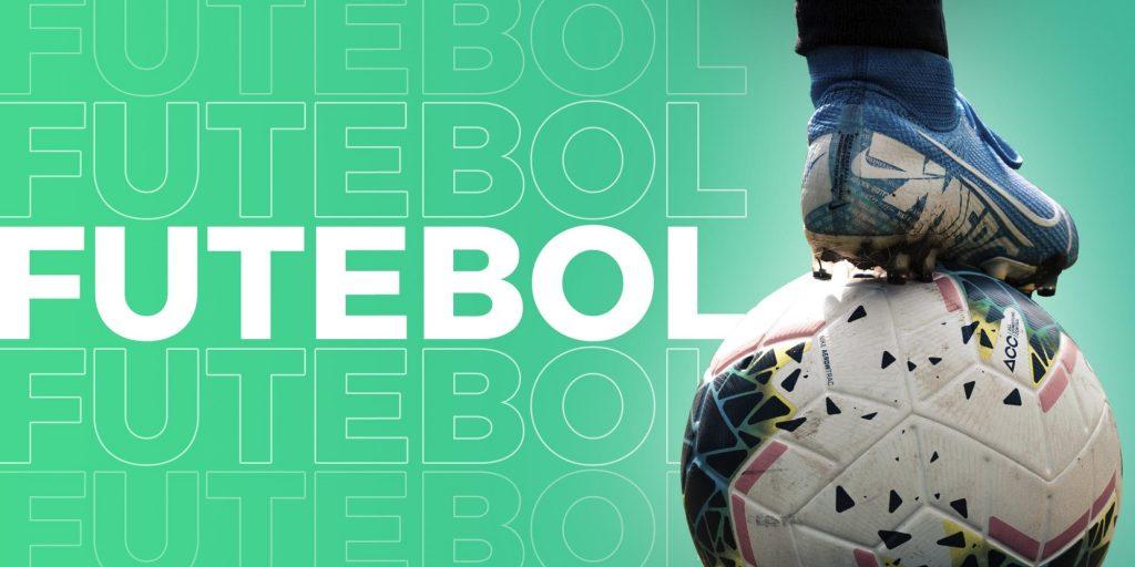 Capa escrito futebol, com a imagem de um pé e uma bola